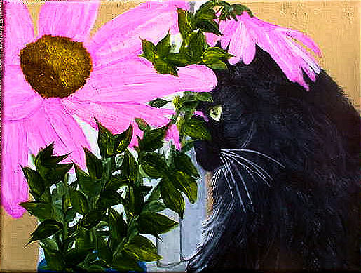 Cat Painting - Flower Cat by Dia Spriggs