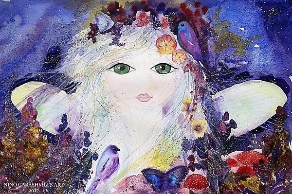Fairy Mixed Media - Flower Fairy by Nino Gabashvili