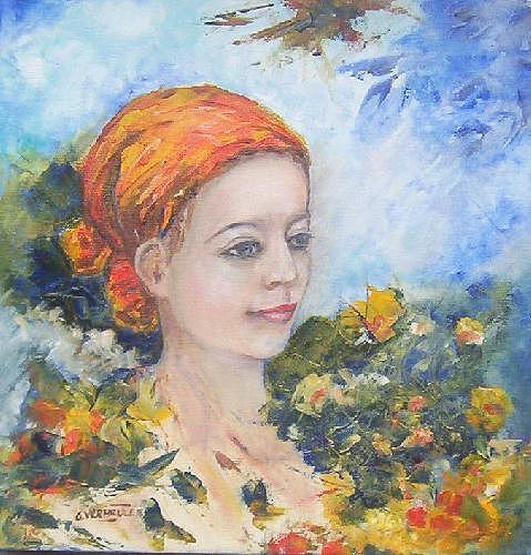 Portrait Painting - Flower Girl by Gilberte Vermeulen