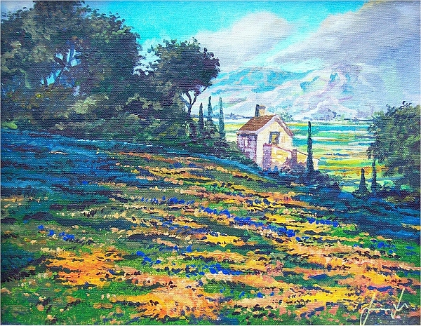 Flower Hill Painting - Flower Hill by Sinisa Saratlic