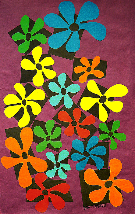 Cut Paper Tapestry - Textile - Flower Power by Teddy Campagna