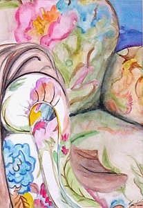 Chair Painting - Flower Printed Stuffed Chair by Michele Vavonese