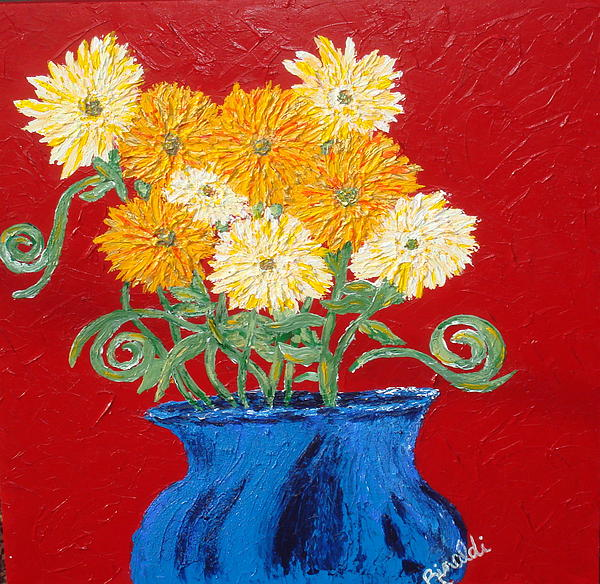 Landscapes Painting - Flower Series - Golden Silk by Angela Rinaldi