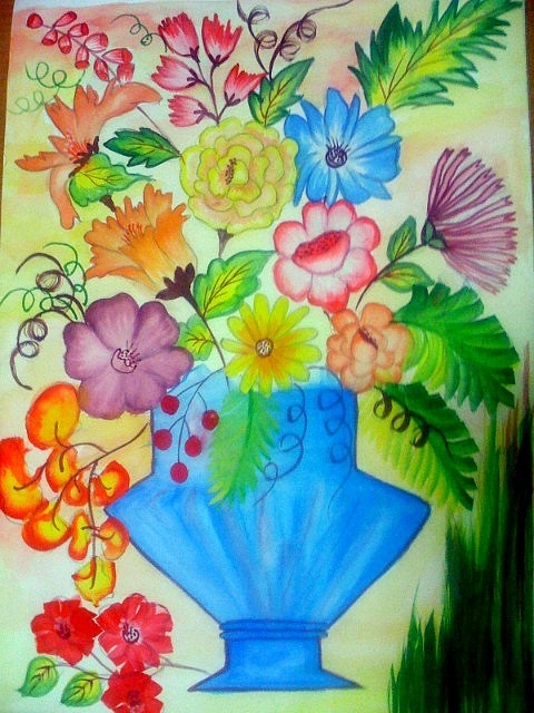 Flower Vase Painting by Smitha Kamath on flower oil paintings christmas, flower butterfly painting, flower bowl painting, bird-and-flower painting, flower stand painting, flower girl painting, bottle flower painting, frame painting, flower window painting, candle painting, flower white painting, flower mirror painting, flower vases with flowers, flower light painting, flower still life oil paintings, flower table painting, flower wreath painting, flower bed painting, flower box painting, modern palette knife painting,