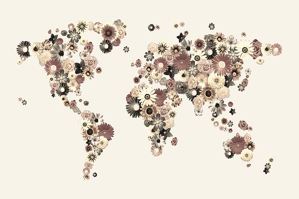World Map Digital Art - Flower World Map Sepia by Michael Tompsett