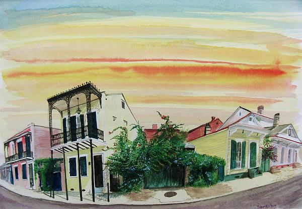 Street Scene Painting - Flowered Gate by Tom Hefko