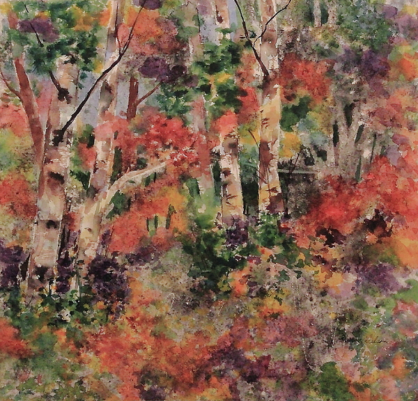 Trees Painting - Flowering Bushes by Sharon K Wilson