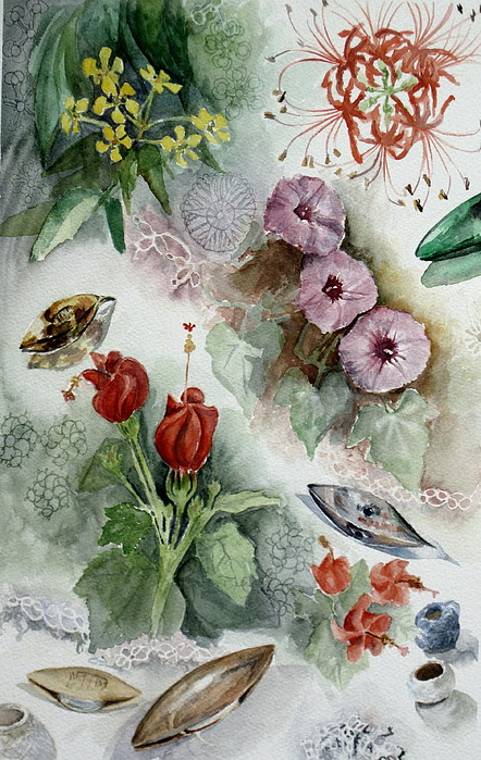 Flowers Painting - Flowers And Lace by Karen Boudreaux