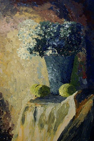 Still Life Painting - Flowers And Lemons by Mats Eriksson
