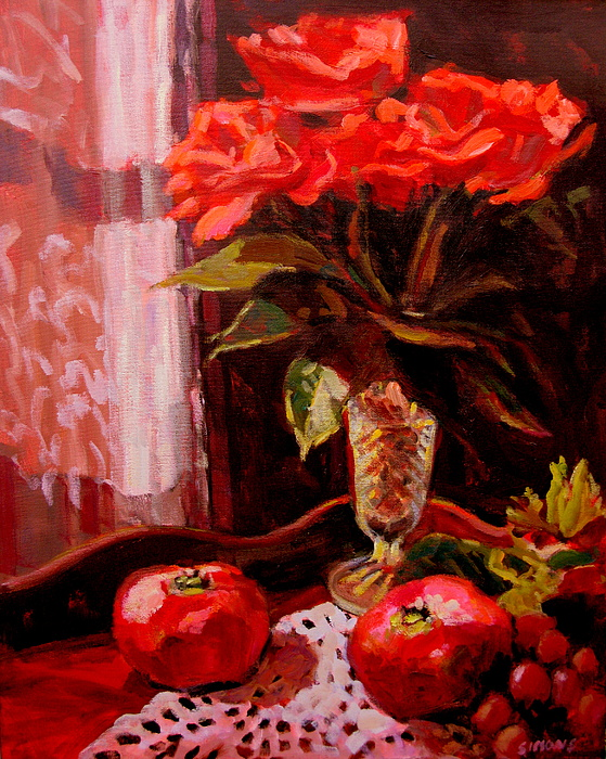 Paintings Painting - Flowers And Poms by Brian Simons