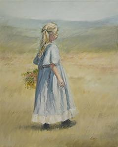 Little Girl Painting - Flowers For Mother by Linda Eades Blackburn
