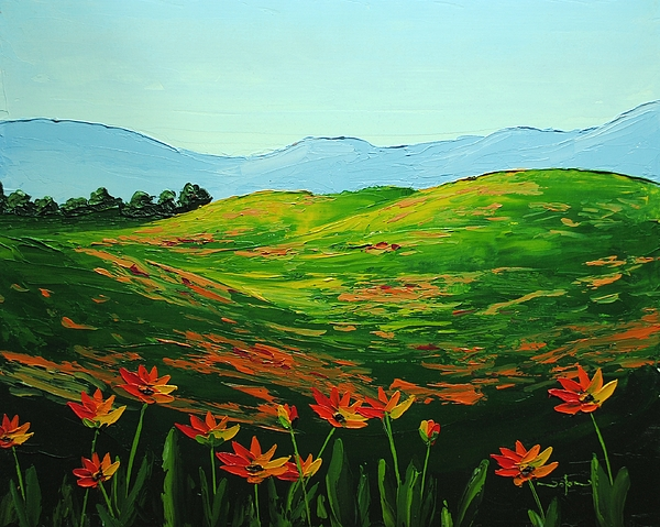 Oil Painting - Flowers In A Meadow by Nolan Clark