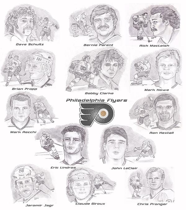 Philadelphia Flyers Drawing - Flyer Greats by Chris  DelVecchio