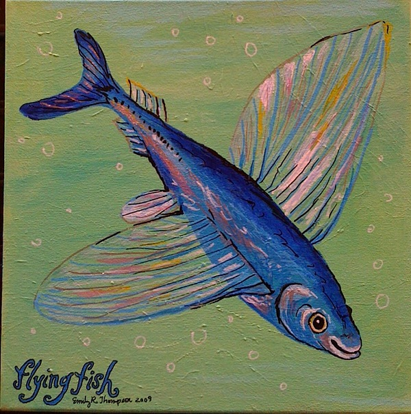 Flying Fish Painting by Emily Reynolds Thompson