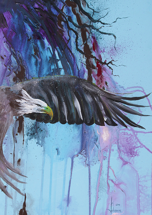 Eagle Painting - Flying High by Larry  Johnson