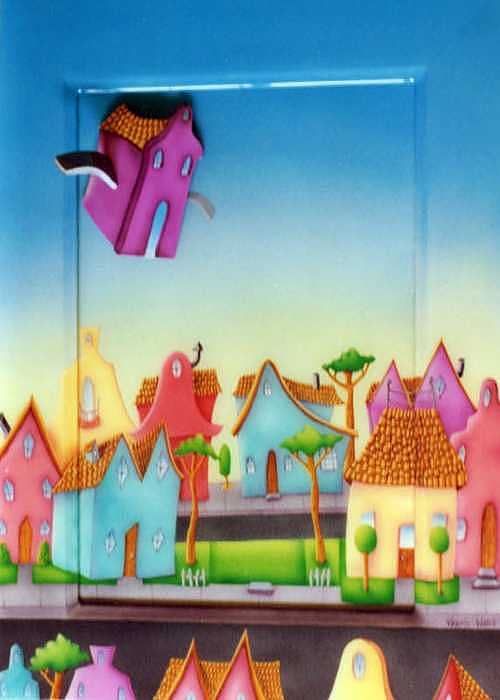 Neighborhood Painting - Flying Home by Valerie Walsh