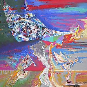 Flying Lady Painting by Helmut  Preiss