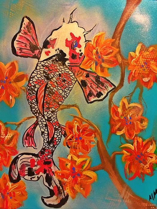 Koi Fish Painting - Focus Flower  by Miriam Moran