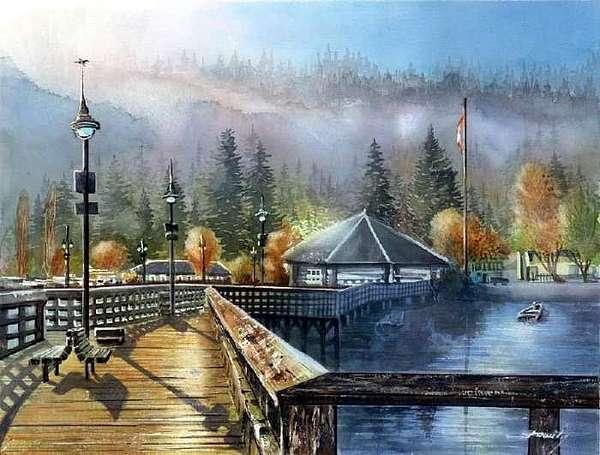Original Watercolor Painting - Foggy Morning Rocky Point Park by Dumitru Barliga