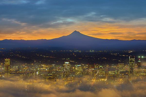 Portland Photograph - Foggy Portland City Downtown At Dawn by David Gn