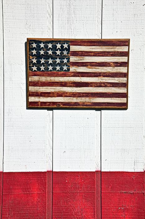 Wood Photograph - Folk Art American Flag On Wooden Wall by Garry Gay