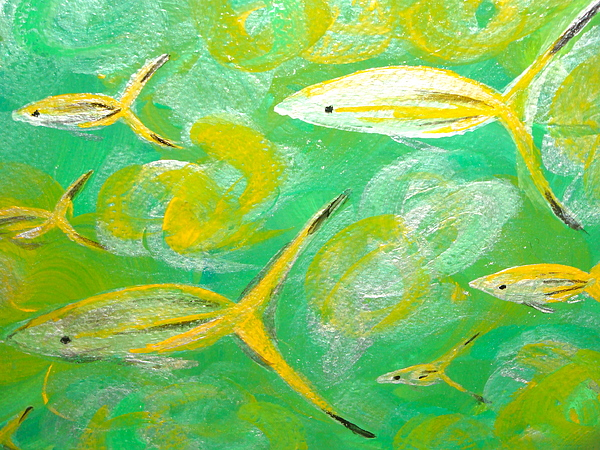 Abtract Paintings Painting - Following Friends by Jennifer  Lane