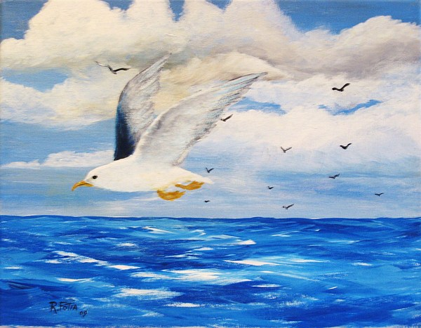 Seagulls Painting - Following Sea by Rich Fotia