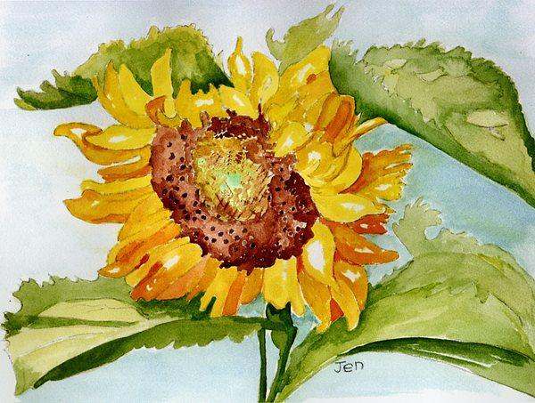 Sunflower Painting - Following The Sun by Ann Gordon