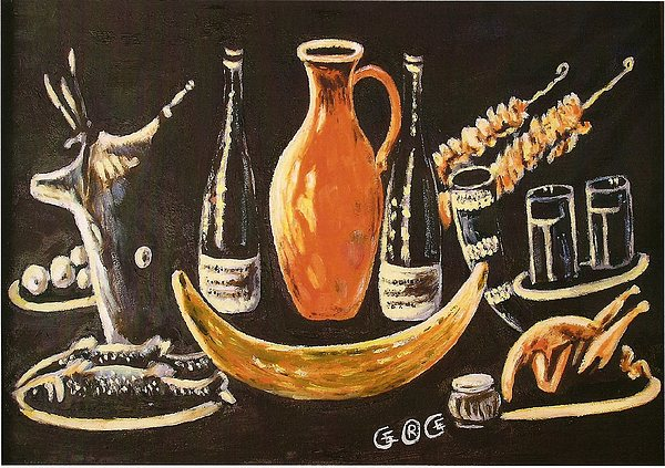 Food Painting - Food And Wine by George I Perez