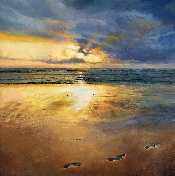 Footprints Painting - Footprints by Helen Parsley