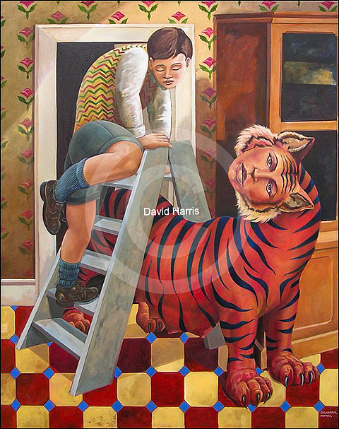 Painting Painting - For He Who Rides The Tiger by David  Harris