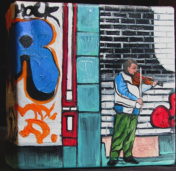 City Scape Painting - For The Love Of Music by Patricia Arroyo