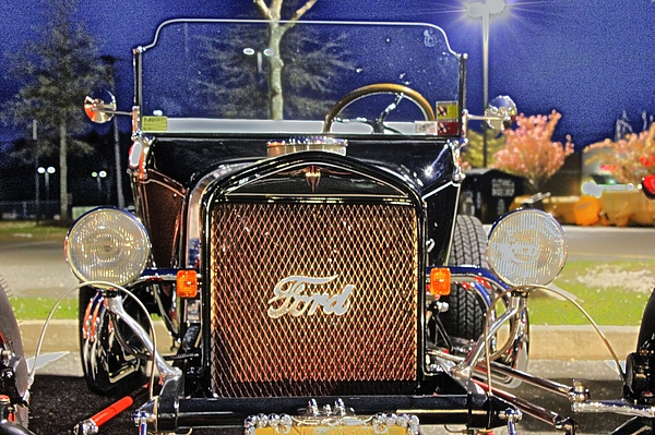 Car Photo Photograph - Ford Black Hot Rod Old School by Pictures HDR