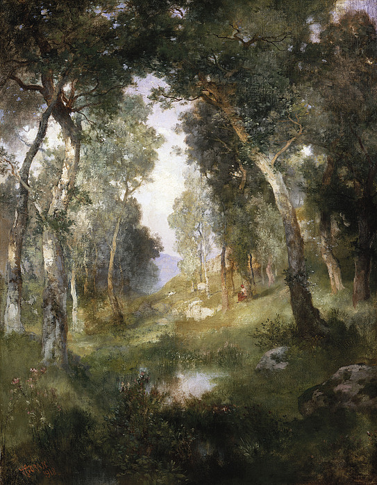 Forest Painting - Forest Glade by Thomas Moran