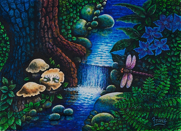 Dragonfly Painting - Forest Never Sleeps Chapter- Midnight Rendezvous by Michael Frank