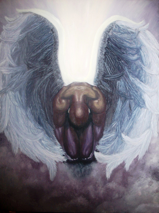 Angel Painting - Forgiven by Michelle Fayant