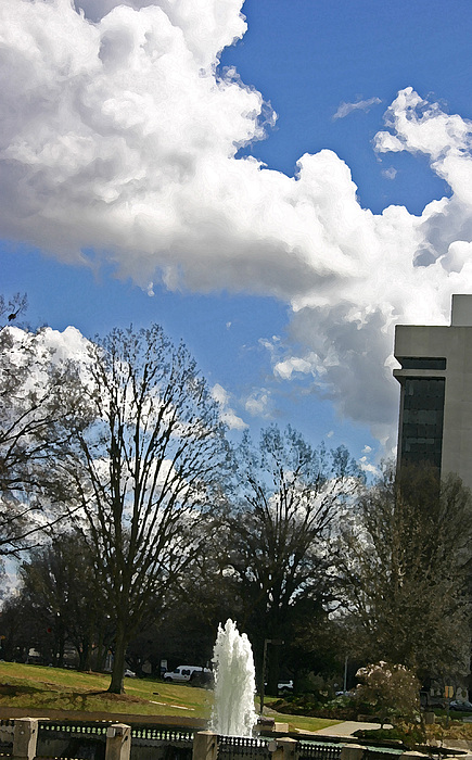 Fountain Photograph - Fountain And Clouds by Beebe Barksdale-Bruner