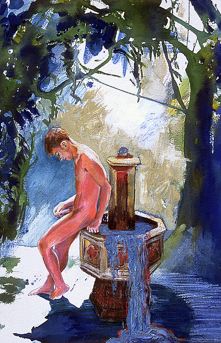 Naked Boy Painting - Fountain by Rene Capone