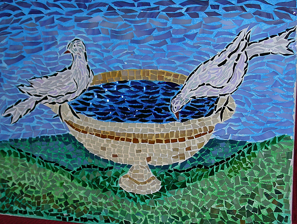 Fountain With Pigeon Glass Art by Cristina Cassina