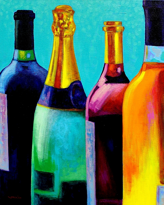 Bottles Painting - Four Bottles by John  Nolan