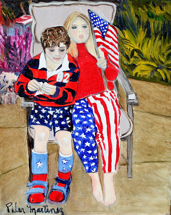 Fourth Of July Painting by Pilar  Martinez-Byrne