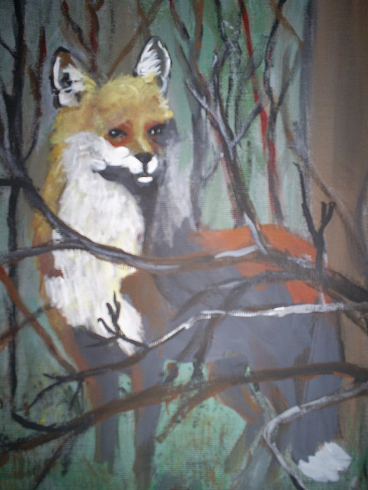 Wild Life Painting - fox by Margaret Palmer
