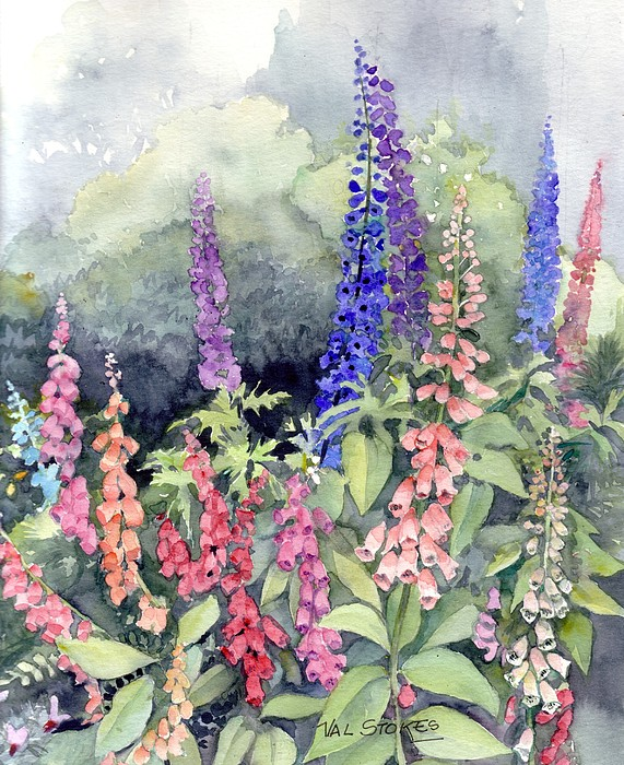 Foxgloves Painting by Val Stokes