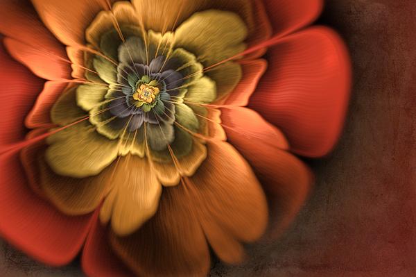 Flame Fractal Digital Art - Fractal Pansy by John Edwards