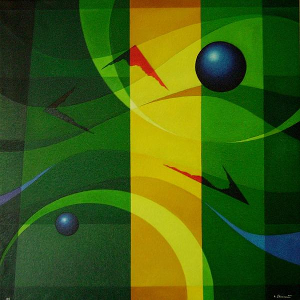 Geometric Abstract Painting - Fragments Of A Soul - 2 by Alberto DAssumpcao