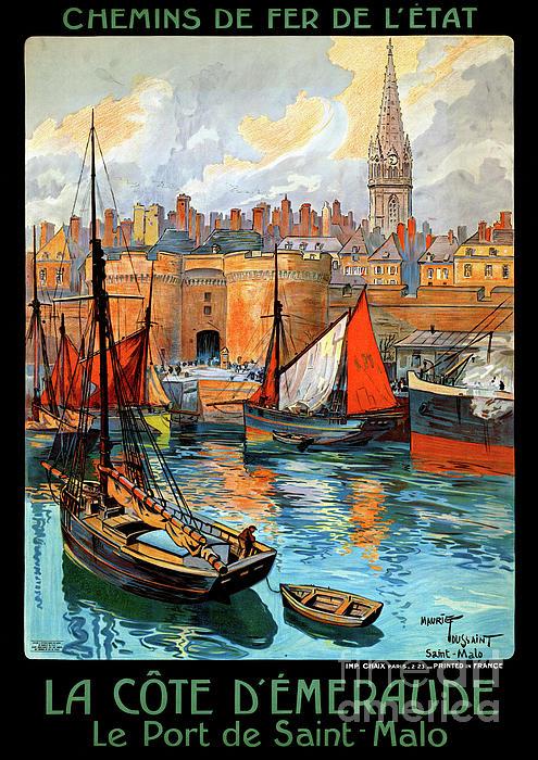 Vintage Mixed Media - France Saint Malo Restored Vintage Travel Poster by Carsten Reisinger