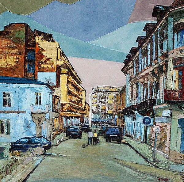 Original Painting - Franceza Str.    Historic Centre Bucharest Romania by Luminita Feodoroff