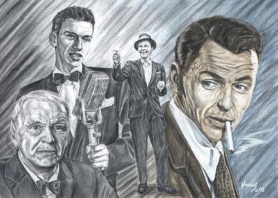 Frank Sinatra Portrait Drawing - Frank Sinatra Portrait by Don Higgins