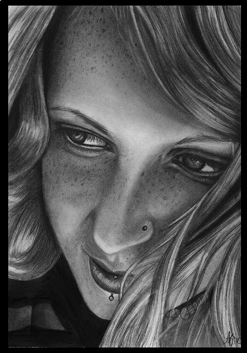 Freckles Drawing - Freckled In The Wind by Alycia Ryan