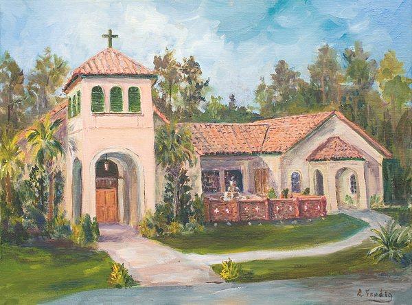 Frederica Presbyterian Church Painting by Albert Fendig